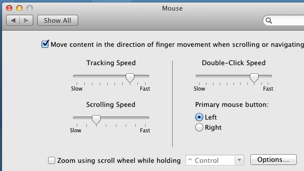 View or Configure Mouse Parameters on Mac OS X