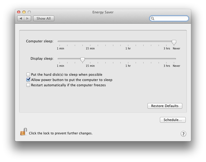 Energy Saver Panel of Mac System Preferences