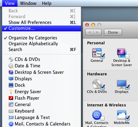 Mac System Preferences and Customizable Icons