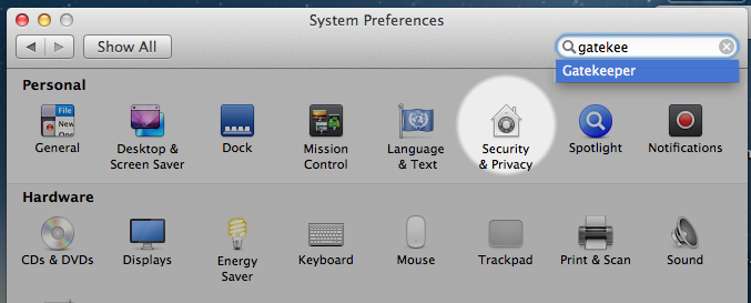 Gatekeeper in Security & Privacy Icon of Macintosh Mountain Lion