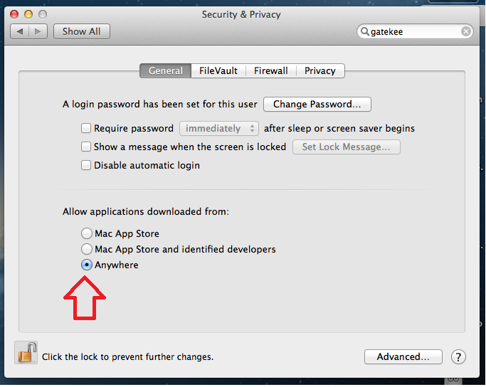 Macintosh Gatekeeper Allowing Applications to be downloaded from Anywhere on Internet