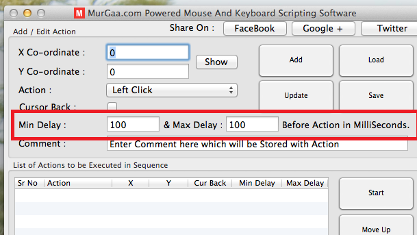 Mac OS X Mouse and Keyboard Scripting Software Accepting Time Interval in MilliSeconds