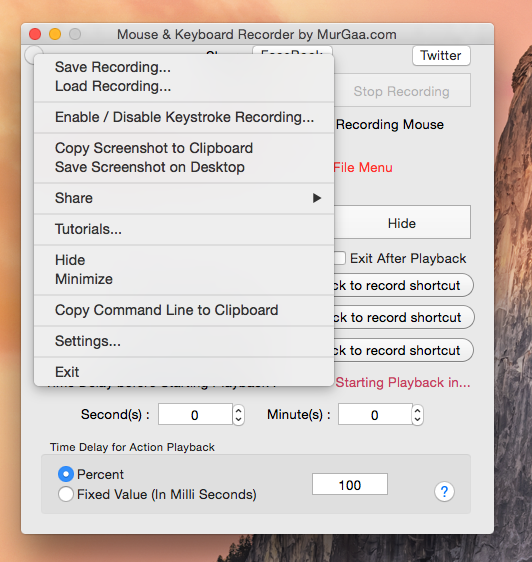 Right Click Menu of Mouse Macro Recorder