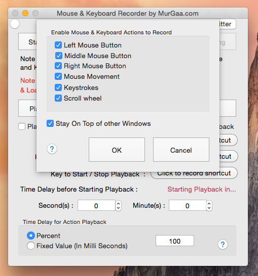 Control which Mouse Actions are Recorded by the Mouse Recorder with Settings.